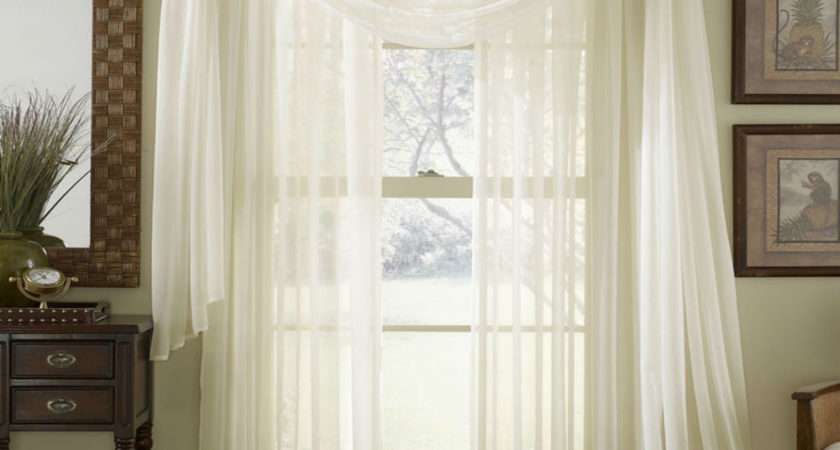 Sheer Plain Voile Scarf Curtain Panel Sets White