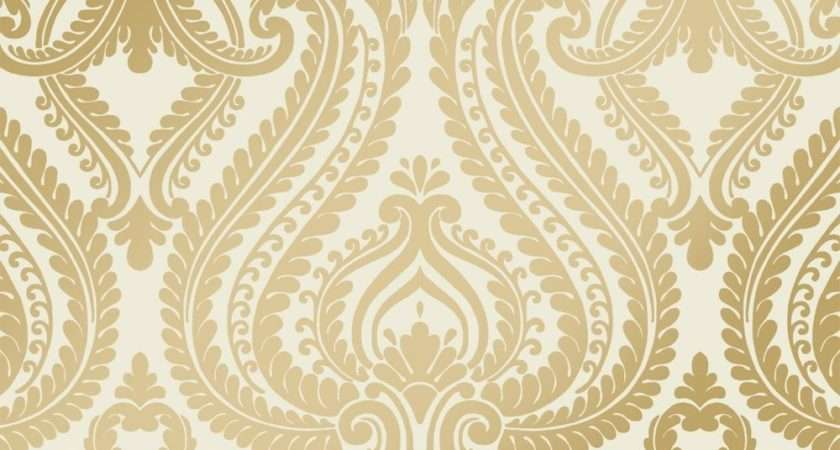 Shimmer Damask Metalic Cream Gold Ilw