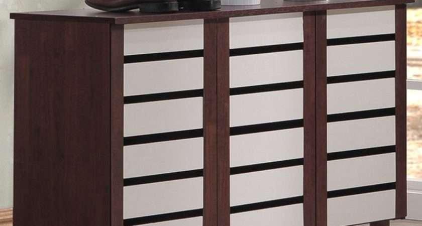 Shoe Cabinet Doors Wood Storage Organizer Rack