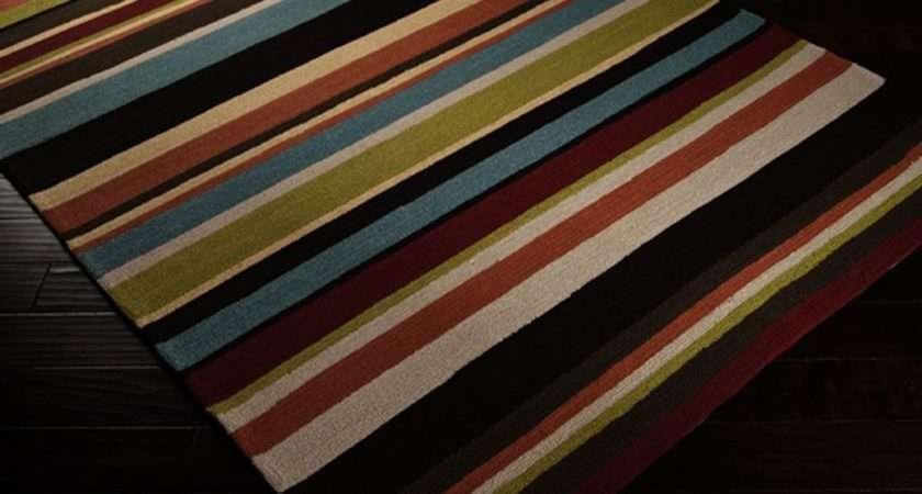 Shop Rain Bright Stripes Outdoor Rug Round Surya