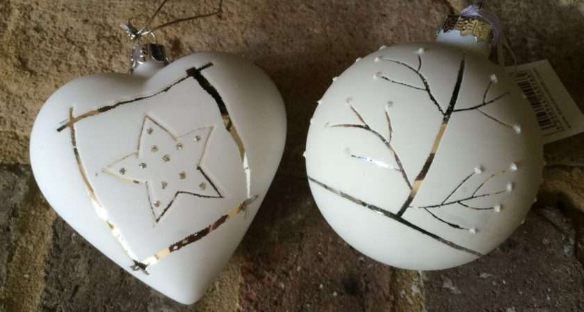 Silver White Baubles Pair Contemporary Christmas Tree Decorations