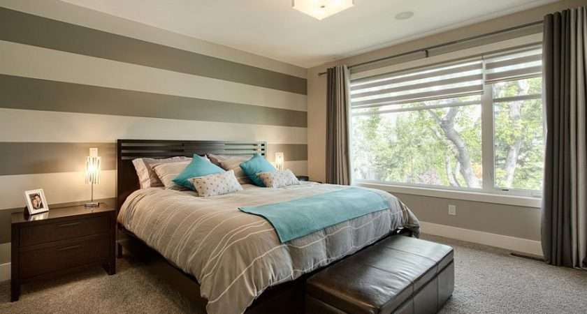 Simple Accent Wall Horizontal Stripes Bedroom Design