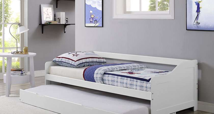Single Day Bed White Frame Trundle Solid Wood