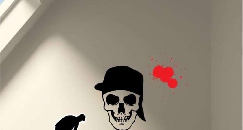 Skull Graffiti Personalised Wall Stickers Teens Bedroom