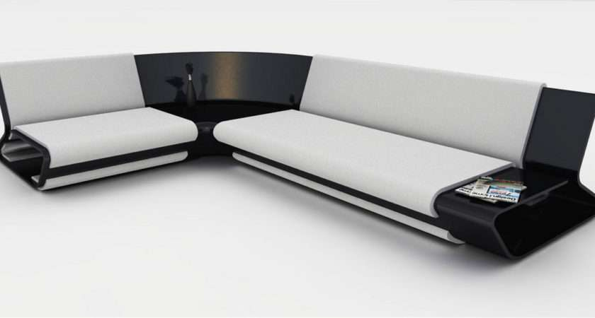 Sleek Black Modern Sofa White Leather