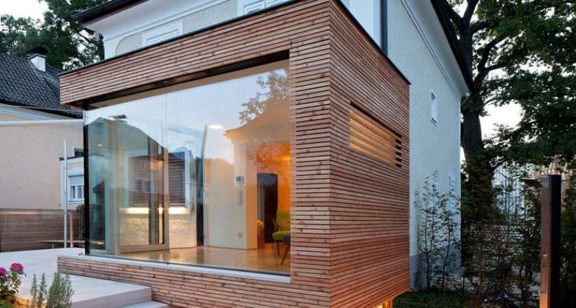 Sleek Glass Wood House Extension Matching