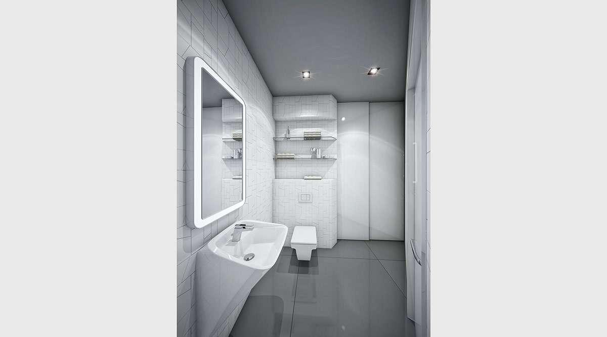 Sleek Grey White Bathroom Subtle Graphic Prints