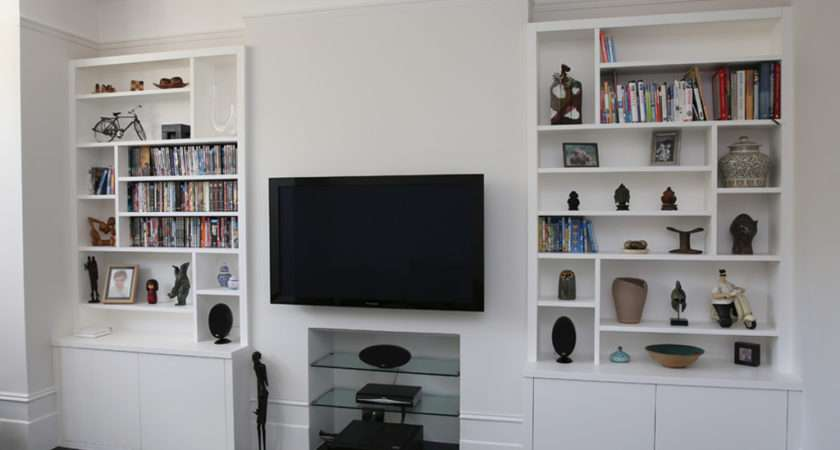 Sleek White Built Alcove Cupboards Bespoke Furniture