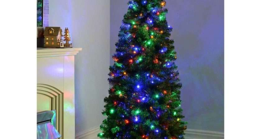Slim Pre Lit Christmas Tree Led Lights Multi