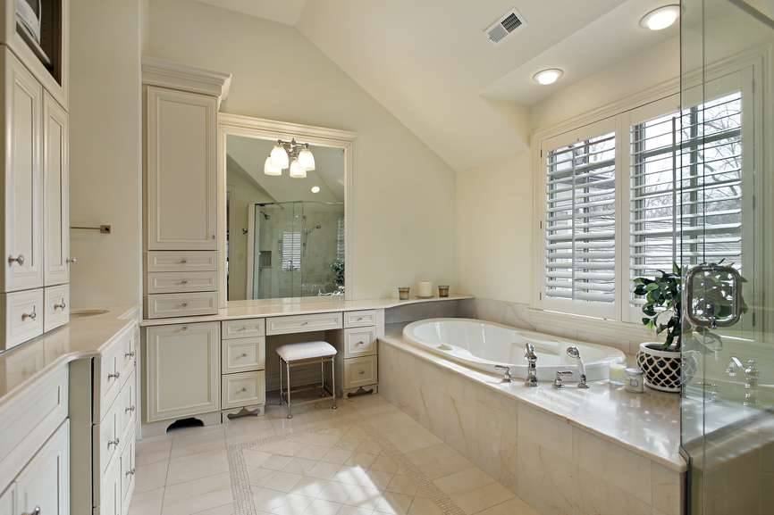 Sloped Ceiling White Bathroom Window Above Tub Extensive Built