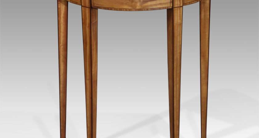 Small Antique Console Table Satinwood Demi Lune