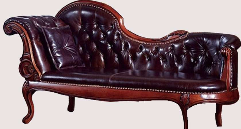 Small Apartment Bedroom Chaise Longue Carved Oak Leather