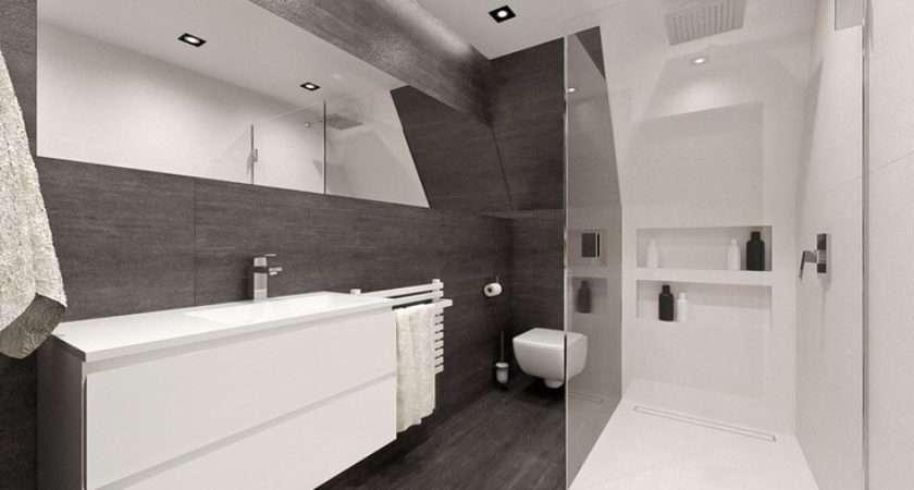 Small Attic Bathroom Visualization House Trzyci Poland
