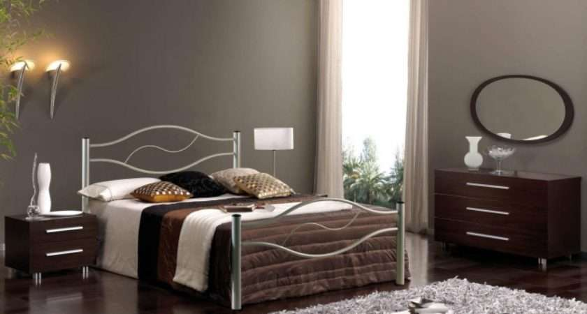 Small Bedroom Design Double Metal Bed Dresser Bedside