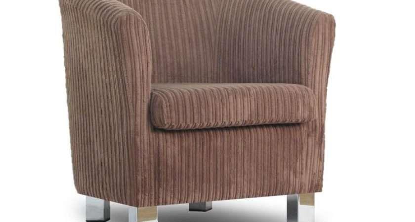 Small Fabric Sofa Tub Chair Jumbo Cord Bark Chrome Legs