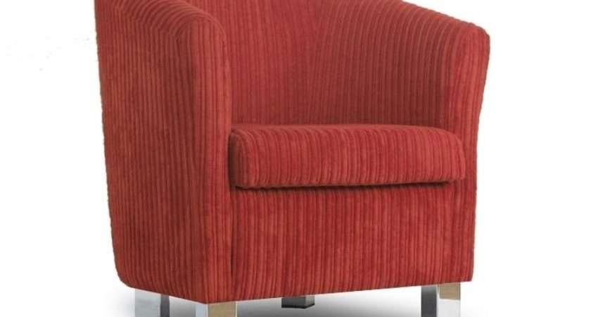 Small Fabric Sofa Tub Chair Jumbo Cord Copper Chrome Legs
