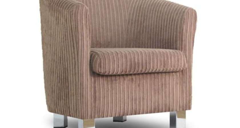 Small Fabric Sofa Tub Chair Jumbo Cord Sable Chrome Legs