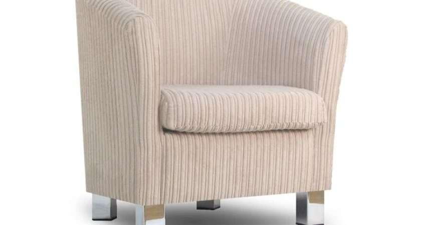 Small Fabric Sofa Tub Chair Jumbo Natural Chrome Legs