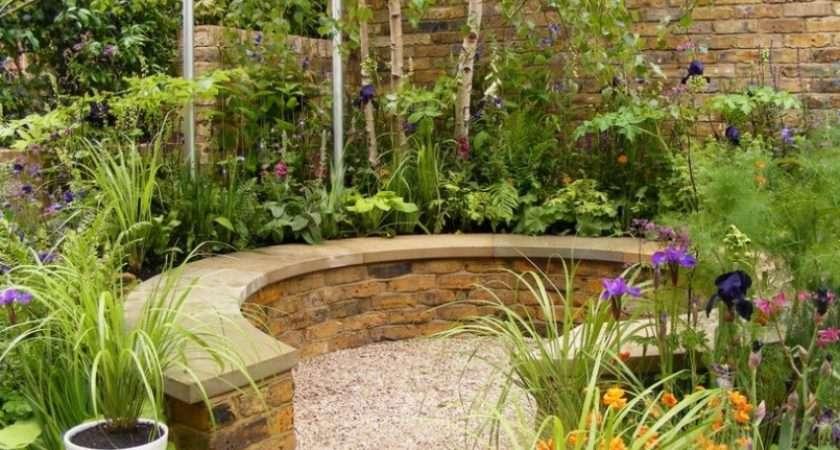 Small Garden Ideas Designs Stone Bench Fence