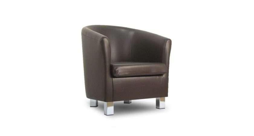 Small Leather Sofa Tub Chair Dark Brown Chrome Legs