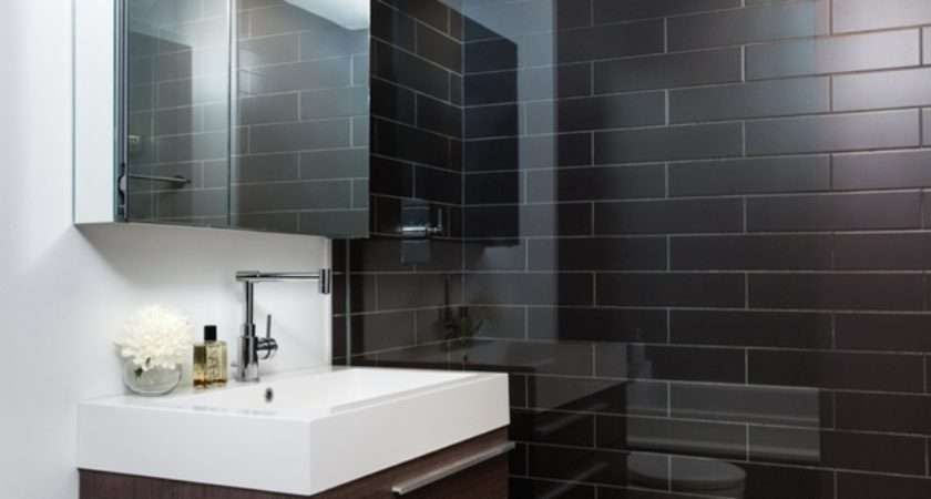 Small Loft Bathroom Interior Brown Tile Wall Part