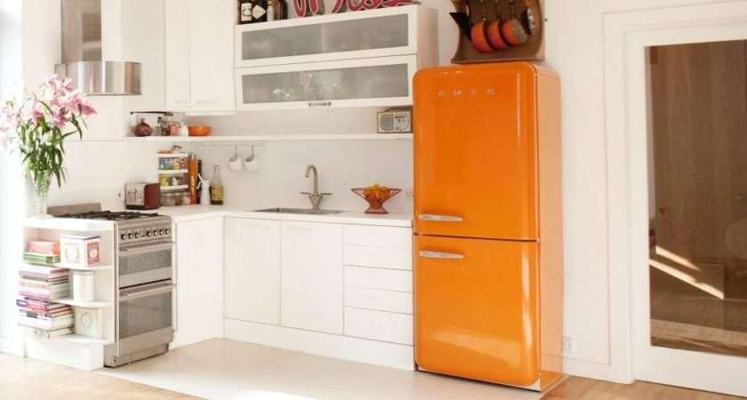Smeg Fab Retro Style Right Hand Hinged Orange Fridge Freezer