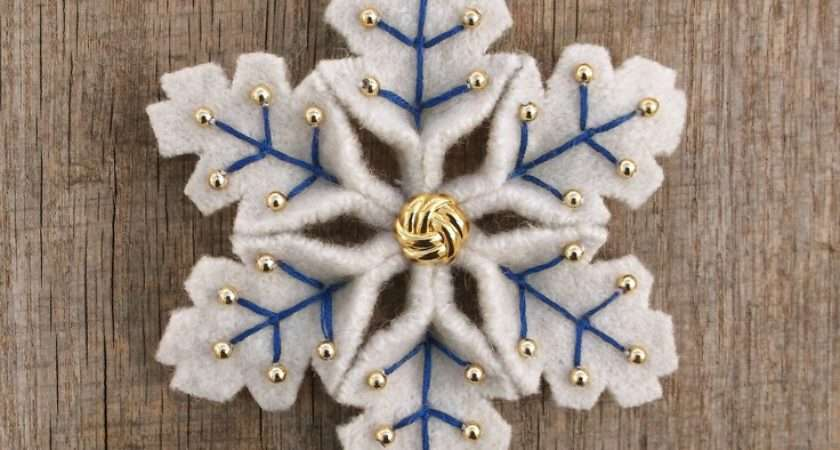 Snowflake Felt Pin Blue Gold Upcycled