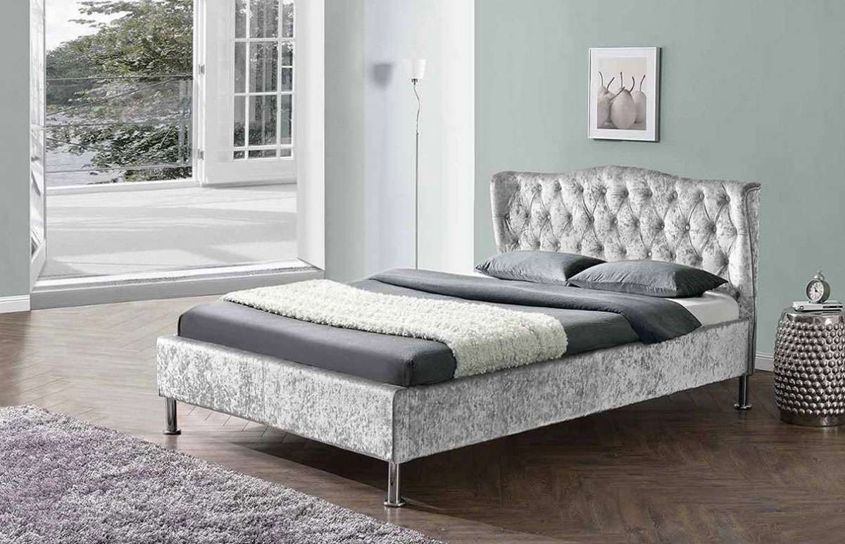 Socorro Winged Fabric Upholstered Bed Frame Silver