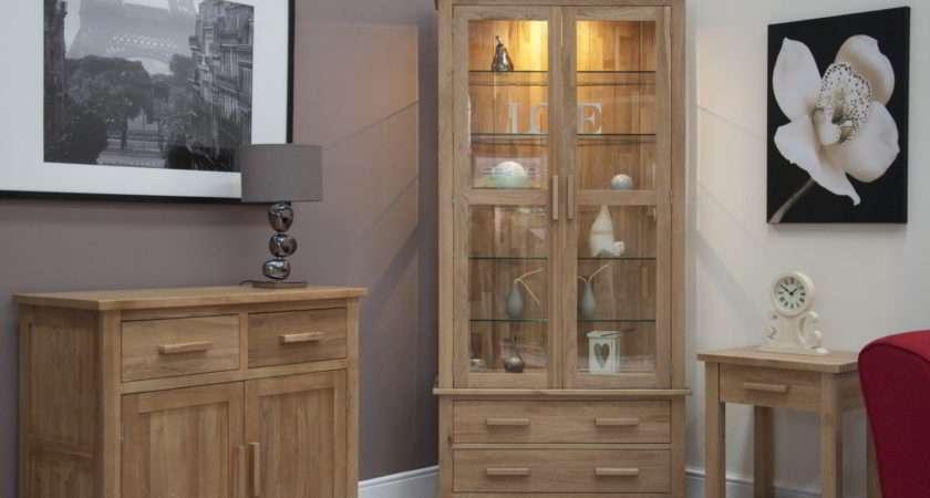Solid Oak Living Room Furniture Glazed Display Cabinet Cupboard Ebay