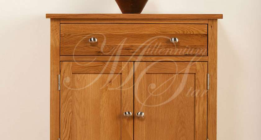 Solid Oak Small Compact Sideboard Cupboard Cabinet Ebay
