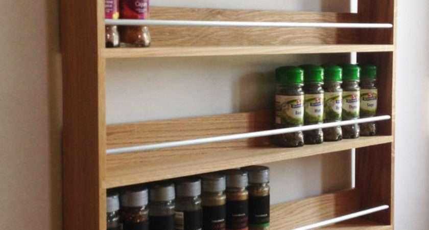 Solid Oak Spice Rack Shelves Kitchen Worktop Wall