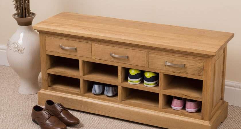 Solid Oak Wood Drawer Shoe Bench Rack Hallway Furniture Ebay