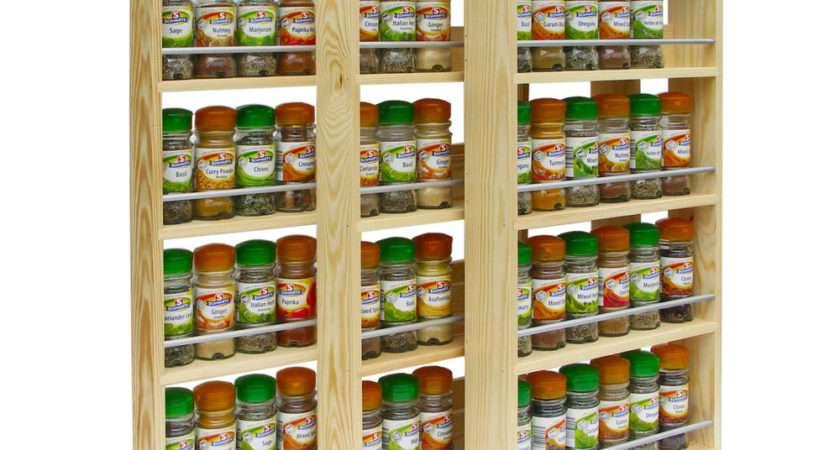Solid Pine Spice Rack Shelves Kitchen Worktop Wall