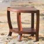 Solid Teak Corner Shower Bench Chair Shelf