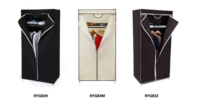 Songmics Canvas Wardrobe Clothes Hanging Rail Shelves Storage