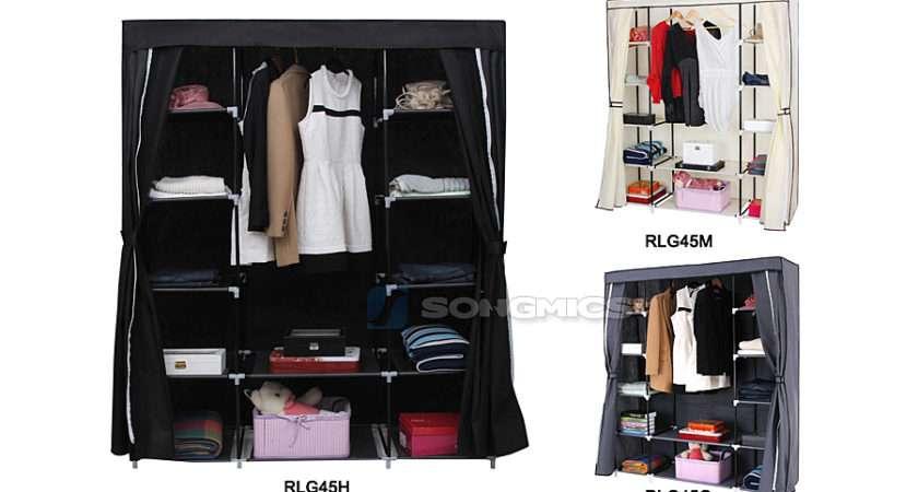 Songmics Canvas Wardrobe Clothes Shelves Bedroom