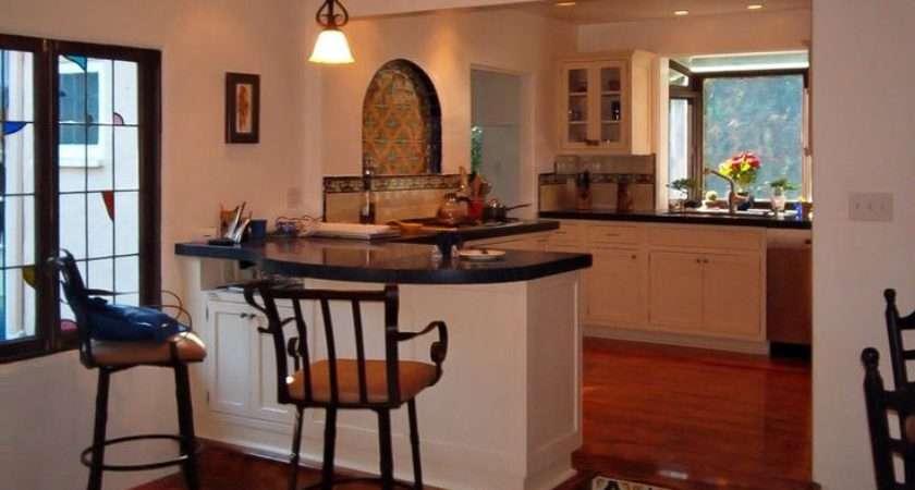 Spanish Tile Floor Backsplash Wrought Iron Bar Stools Designer