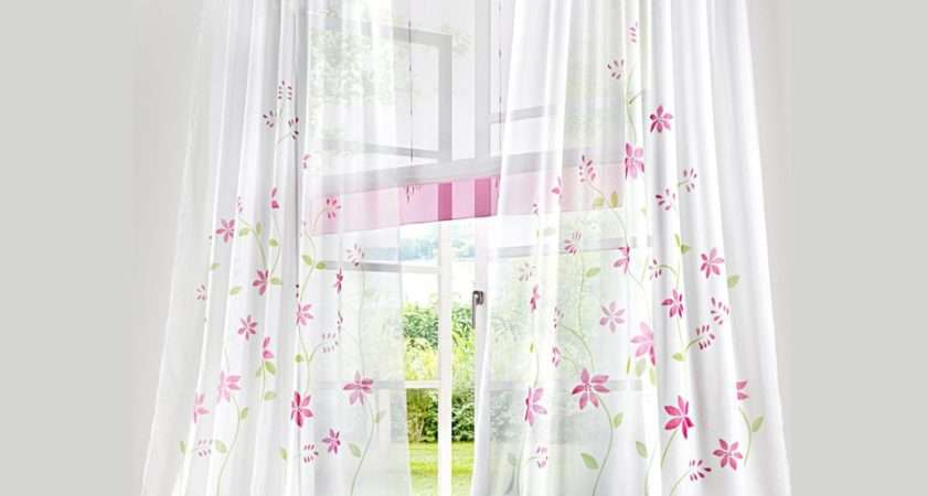 Spring Daisy Floral Printed Voile Sheer Sitting Room