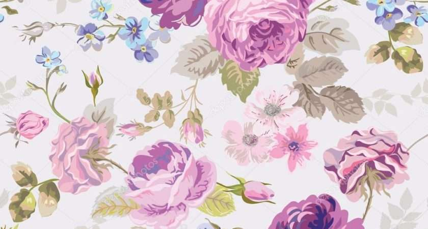 Spring Flowers Seamless Floral Shabby Chic