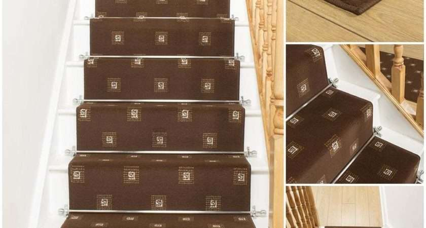 Square Brown Stair Carpet Runner Narrow Staircase