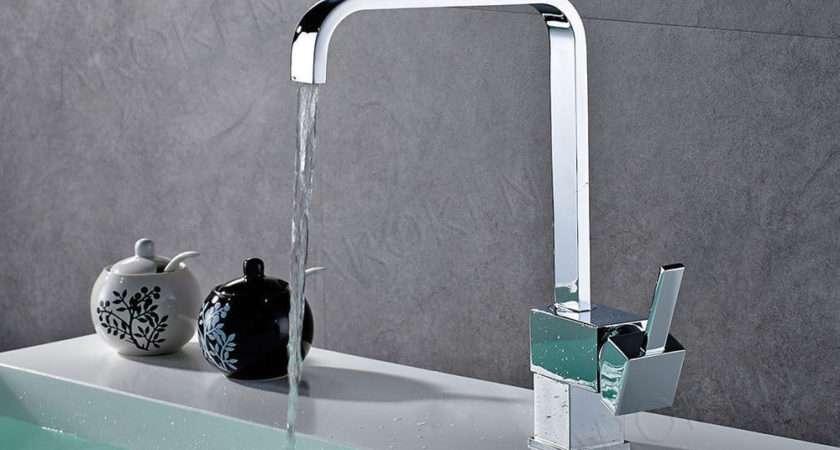 Square Modern Chrome Kitchen Sink Bathroom Basin Mixer Tap
