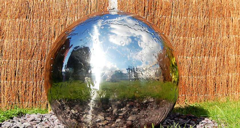 Stainless Steel Sphere Water Feature Fountain Cascade Garden Leds
