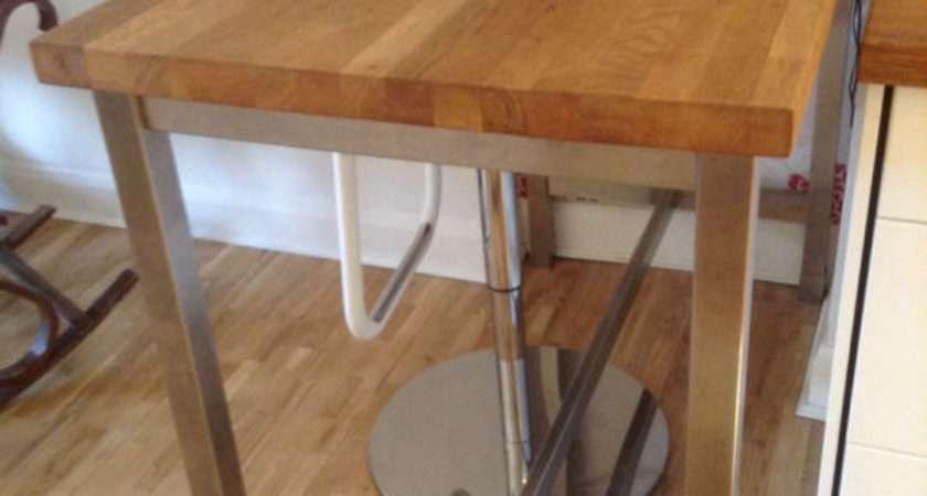 Standing Breakfast Bar Wooden Top Chrome Legs