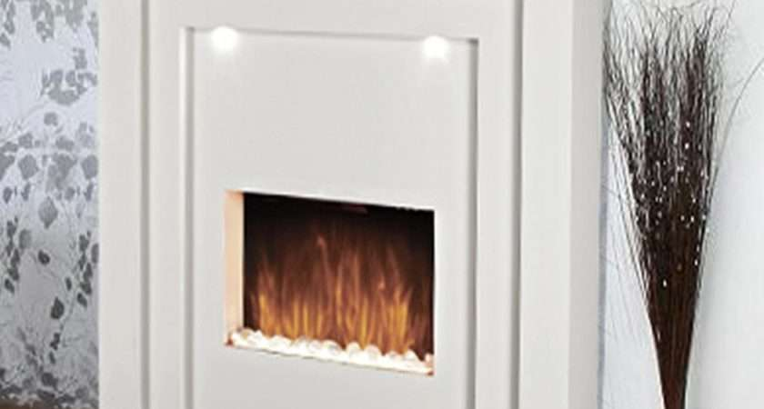 Standing Designer Electric Fire Fireplace White Mdf