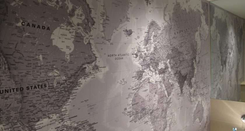 Stitched World Map Wide