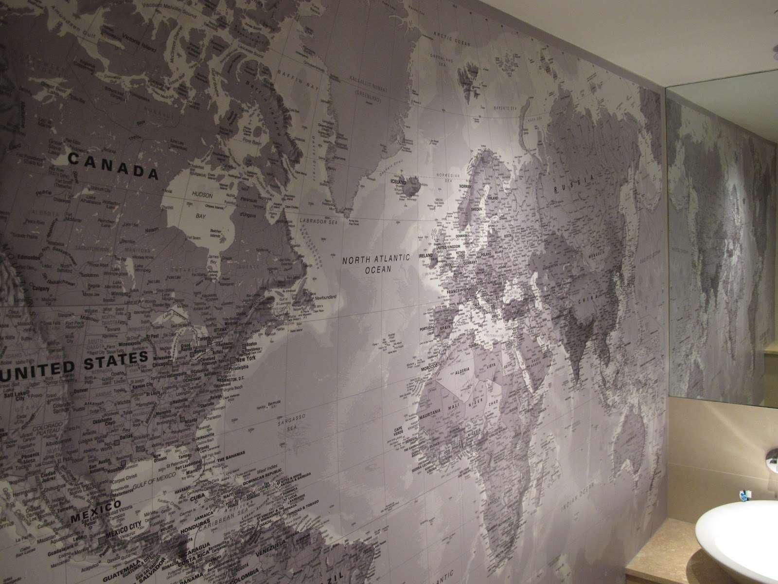 Stitched World Map Wide