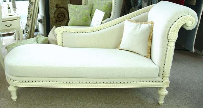 Stone Ornate French Shabby Chic Linen Antique White Chaise Longue Sofa