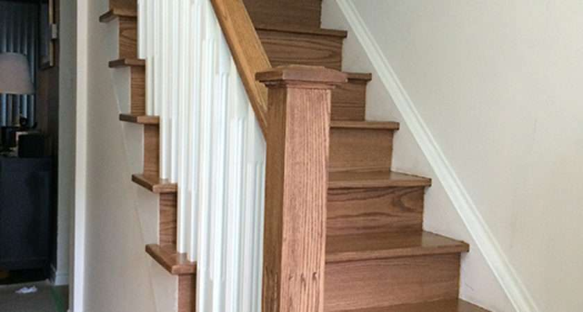 Straight Stairs White Pickets New Wood Post Oak