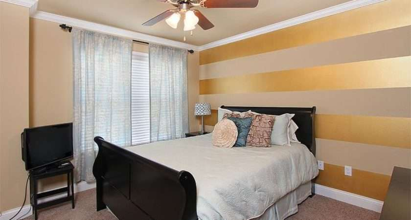 Stripes Wall Bedroom Stripe Horizontal Gold Accent