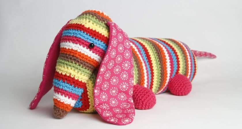 Stripy Dachshund Sausage Dog Crochet Doorstop Draught